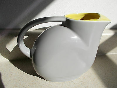 Vintage G.E. REFRIGERATOR water PITCHER Yellow Gray Grey General Electric HALL