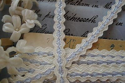 "1y VTG FRENCH 3/8"" BLUE WHITE JACQUARD BRAID RIBBON TRIM DOLL DRESS HAT LAMPSHAD"