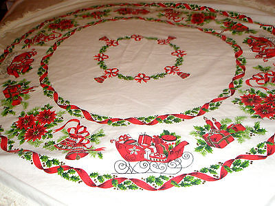 "Vintage Christmas Tablecloth 60"" Round Fringes Sleighs Presents Candles Bells"