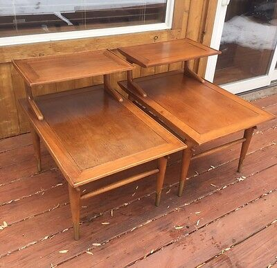 Pair 1955 Vintage Mid Century Modern Honey Walnut Lane End Tables Brass Feet