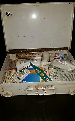 Vintage Eastern First Aid Kit Metal Rusty Box with Junk Lot of Medical Contents