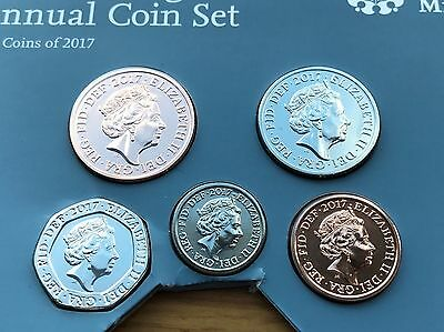 2017 BU UK ANNUAL SMALL COIN SET 5 COINS 1p to £20p BRILLIANT UNCIRCULATED BUNC
