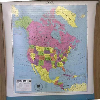 "Vintage Concept 2 Page Usa & World Pull Down School Map 62"" X 54"" Map03"