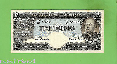 #d75. 1960 Type Australian  Five Pound  Banknote Coombs/wilson Td05 226601