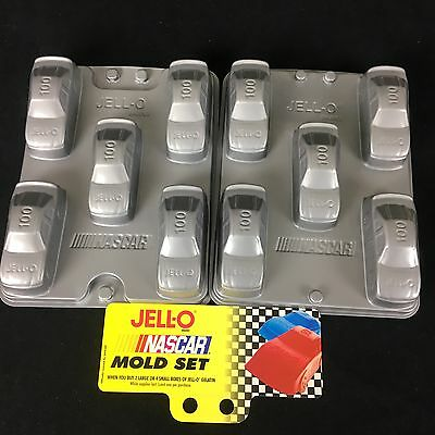 "NASCAR Jell-O Mold 20 Race Car Jigglers Plastic Gray Recipe 7"" 4 sets of 5 NWT"