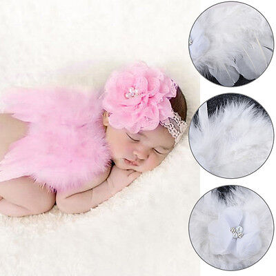Newborn Photography Props Angel Feather Wings Crystal Bow Headband Baby Clothing