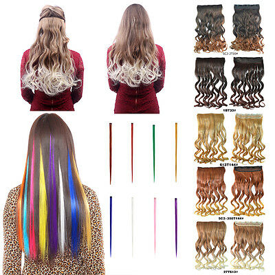 Extension Cheveux Perruque Long Coloré Fiber Synthétique Rajout Clip DIY Cosplay