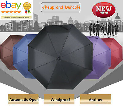 New Automatic Open Anti-uv Windproof  & Waterproof Compact Folding Umbrella