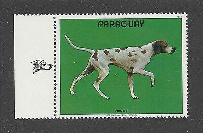 Dog Art Body Study Portrait Postage Stamp ENGLISH POINTER Paraguay 1983 MNH +Tab