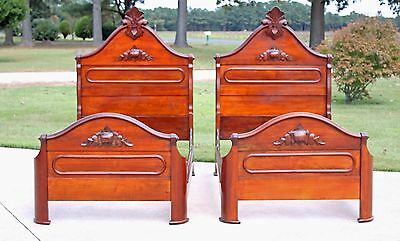 Matched Pair Solid Walnut Victorian Twin Single Beds w Fancy Carved Crest c1870