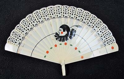 VINTAGE 1920's ART DECO HAND PAINTED CELLULOID BRISE FAN  - PIERROT CLOWN