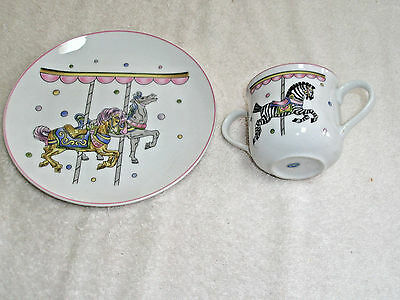 Vintage Childs Porcelain Lunch Plate and Cup 2 Handles Carousel Horses Japan