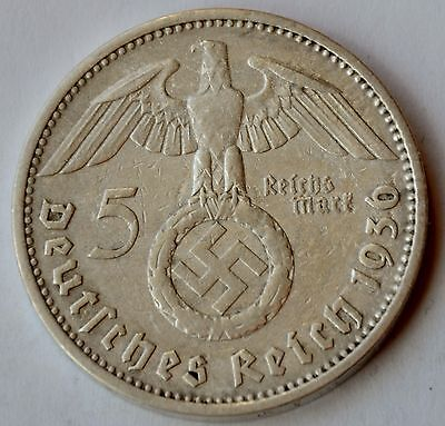 5 Mark 1936 D Third Reich Nazi Germany Silver coin