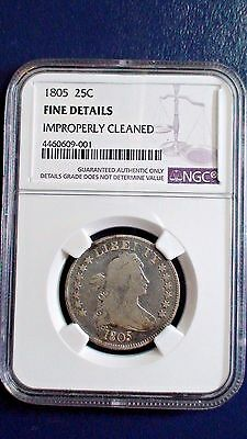 1805 Draped Bust Quarter NGC Fine Details 25c Rare Silver Type Coin