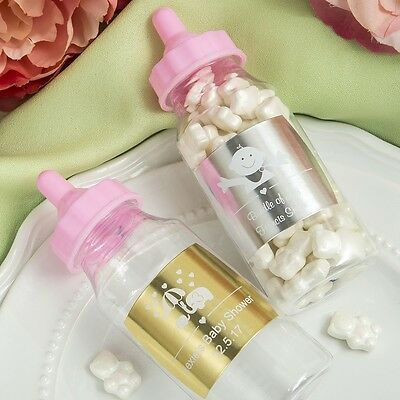 60 Personalized Metallic collection Clear Baby Girl Treat Bottles Shower Favors