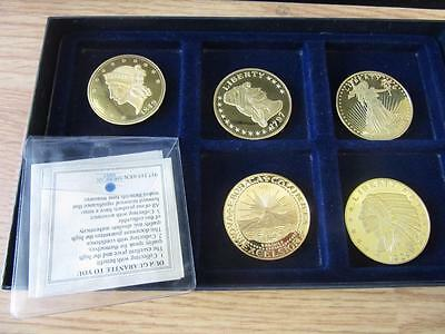 lot of 5 ANTIQUE GOLD PLATED COINS 1797, 1849, 1787, 1929, 1933
