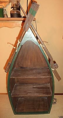 3 Shelf Wood Boat Nautical Beach Decor Wooden Dinghy With