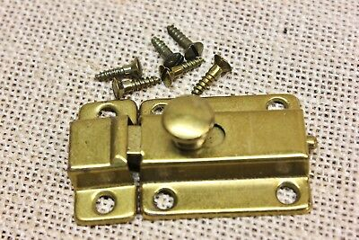 "cabinet cupboard latch 2 1/4"" catch vintage brass on tin USA MADE! old stock"