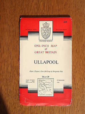 NATIONAL GRID ORDNANCE SURVEY PAPER MAP ULLAPOOL SHEET 20 c1958 SEVENTH SERIES