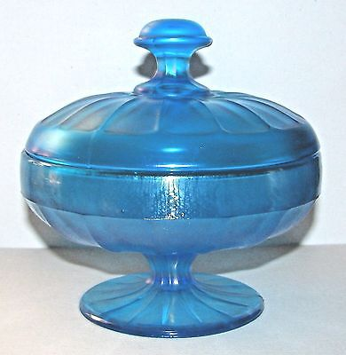 Early Fenton Blue Stretch Footed Glass Candy Dish 1920s MINT