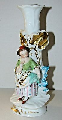 Old Paris Hard Paste Porcelain Figural Child Candle Stick Holder
