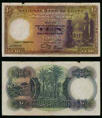 Beautiful Currency February 2, 1943 Egypt 10 Pounds Banknote P 23b Signed Nixon