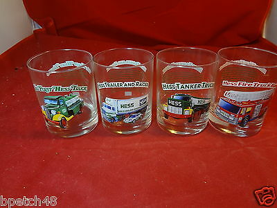 1996 Hess Truck Holiday Series Glass Set of 4 Rock / Drinking Glasses
