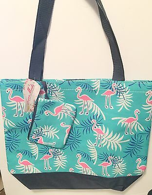 Large Pink Flamingo Turquoise Tropical Themed Tote Bag Travel Bag NWT New