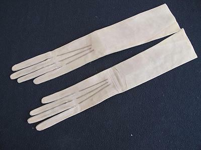 ANTIQUE EDWARDIAN UNUSED TAUPE LEATHER / KID LONG OPERA ELBOW GLOVES c1910