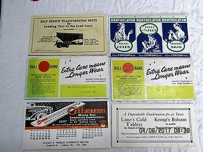 Lot of 6 VINTAGE  Advertising Cards / Blotters