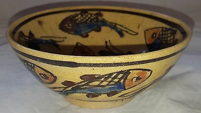 Antique/Vintage Pottery Bowl With Fish Design Islamic Persian In Design