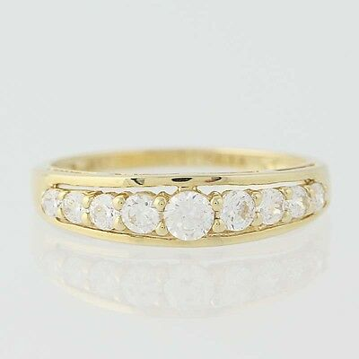 NEW Cubic Zirconia Band Ring -10k Yellow Gold Wedding Anniversary Women's Size 7