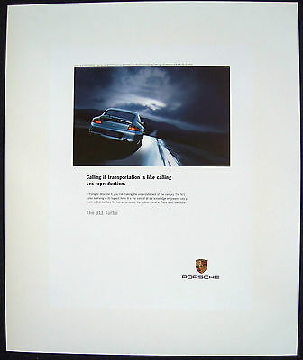 "PORSCHE OFFICIAL ORIGINAL 911 996 TURBO "" SEX "" ADVERTISING  POSTER 2003 sma USA"