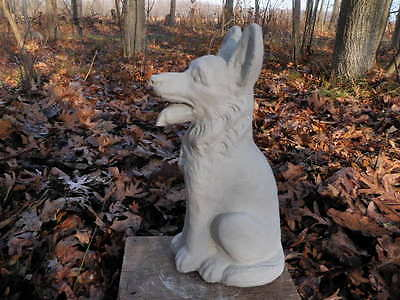 "Cement 12"" Tall German Shepherd Dog Garden Art Statue Concrete Shepard"