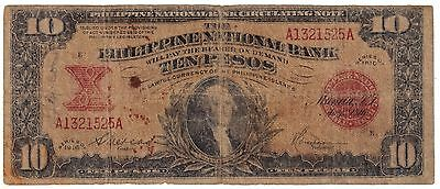 (1916) TEN PESO (10 pesos)  PHILIPPINES (NATIONAL BANK) WASHINGTON --VERY RARE--