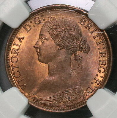 1862 NGC MS 64 RB Farthing Victoria GREAT BRITAIN Coin (16091111C)
