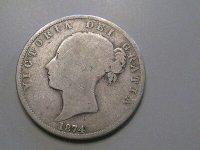 1874 Tough date Sterling Silver Half Crown.  Great Britain. Victoria.