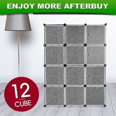 DIY 12 Cube Curly Patterned Storage Wardrobe Black Shoe Rack Cabinet Cupboard AU