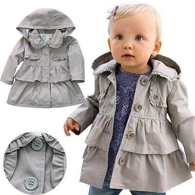 Toddler Baby Girls Winter Warm Trench Wind Coat Hooded Jacket Outwear Clothes
