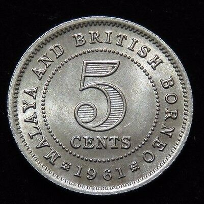 Nice Uncirculated 1961 Malaysia & British Borneo 5 Cents Coin Lot 16904
