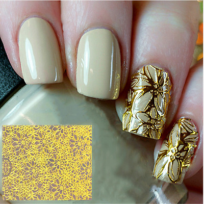 Embossed 3D Nail Art Stickers Decals Gold Flower Grid Manicure Decoration Tips