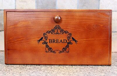 Natural Whittington Wooden Vintage Bread Bin with Drop-Down Front Lid