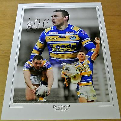 Kevin Sinfield SIGNED 16x12 Photo Montage Autograph Leeds Rhinos Rugby PROOF COA