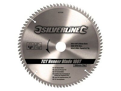 Silverline 427539 TCT Veneer Blade 100T 300 x 30 - 25 20 16mm rings