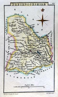 WALES  BRECKNOCKSHIRE  BY LEIGH / HALL HAND COLOUR GENUINE ANTIQUE MAP  c1826