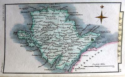 WALES ANGLESEA BEAUMARIS  BY LEIGH / HALL HAND COLOUR GENUINE ANTIQUE MAP  c1826