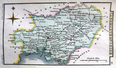 WALES CAERMARTHENSHIRE   BY SIDNEY HALL HAND COLOUR GENUINE ANTIQUE MAP  c1826