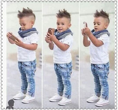 3PCS Toddler Baby Boys Tops T-shirt Scarf Denim Pants Kids Clothes Set Outfits