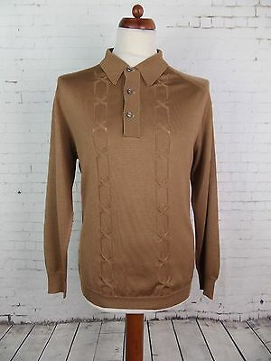 Vtg 70S Acetate Blend Banlon Long Sleeve Brown Polo Shirt Mod Weller  -M- DV12
