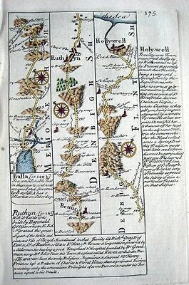 WALES  DENBIGH  HOLYWELL   CITY OF EXETER   BY EMANUEL BOWEN GENUINE MAP c1720